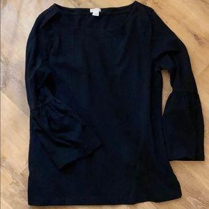 JCrew Cotton Ruffle Sleeve 3/4 length Shift Shirt